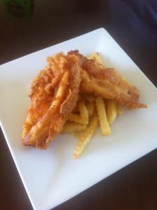 Leatherjacket fillets and chips.