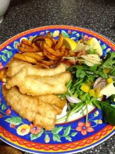 Beer battered flatty + salad and fries - enough said